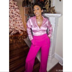 Callie Shiny Satin: Pink Button Valentine Bodysuit